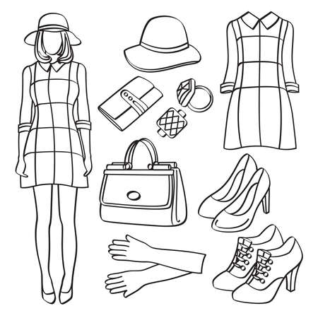Fashion Lady with Clothing and Accessories Ilustracja
