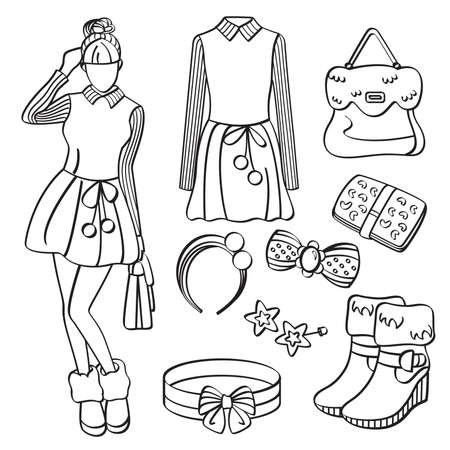 Fashion Lady with Clothing and Accessories Illustration