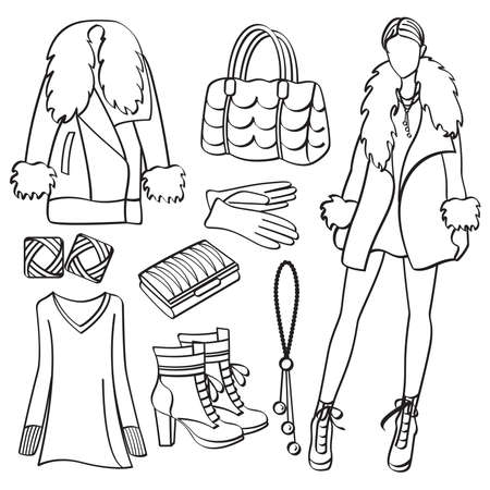 Fashion Lady with Clothing and Accessories Vector