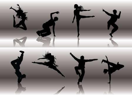 hip hop dance pose: Bailar Grupo Vectores