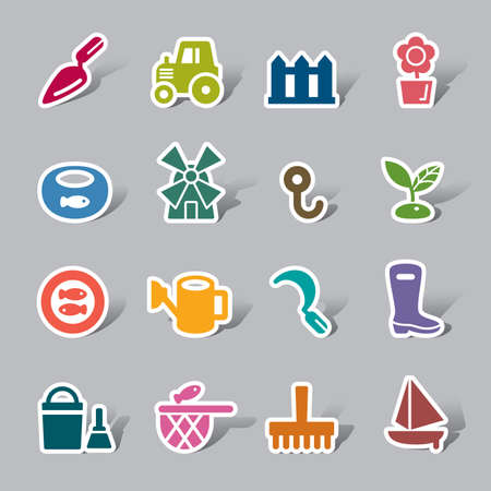 fisheries: Agriculture and Fisheries Color Icon Label Illustration