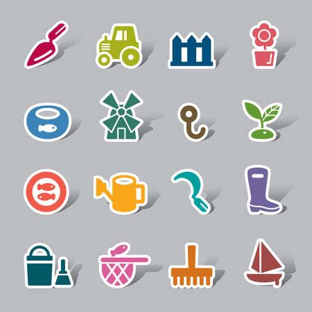 fischerei: Landwirtschaft und Fischerei Farbe Symbolbezeichnung Illustration