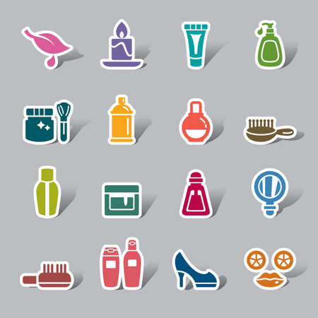 toiletries: Beauty and Cosmetic Color Icon Label