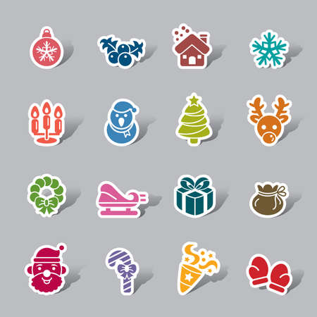 Christmas Element Color Icon Label Vector