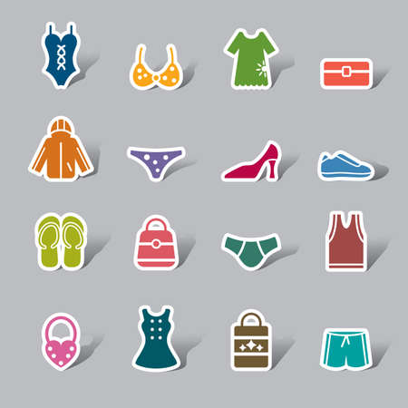 Clothing and Accessories Color Icon Label Vector
