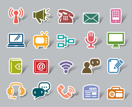 Communication Color Icon Label Ilustracja