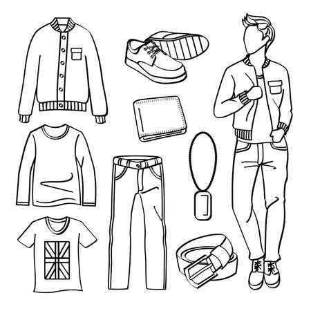 Fashion Man with Clothing and Accessories Vector