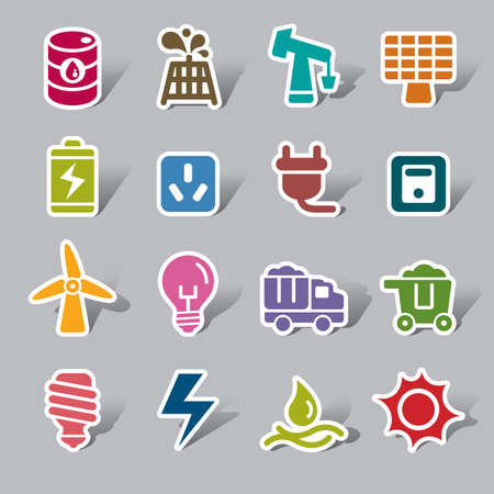 water pump: Energy Color Icon Label Illustration