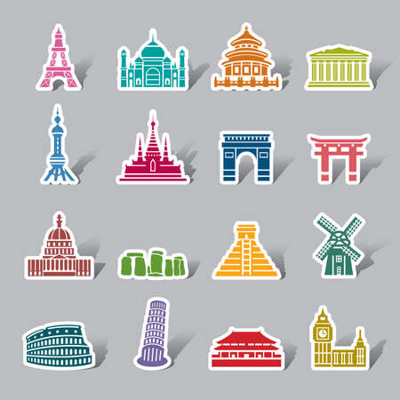 Famous Scenic Spots Color Icon Label