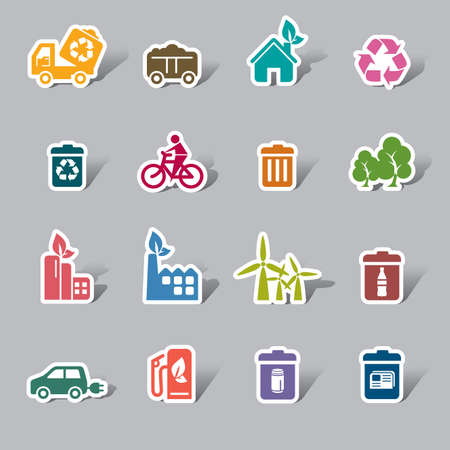 recycling center: Environmental Protection Color Icon Label