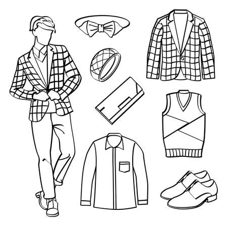 leather goods: Fashion Man with Clothing and Accessories