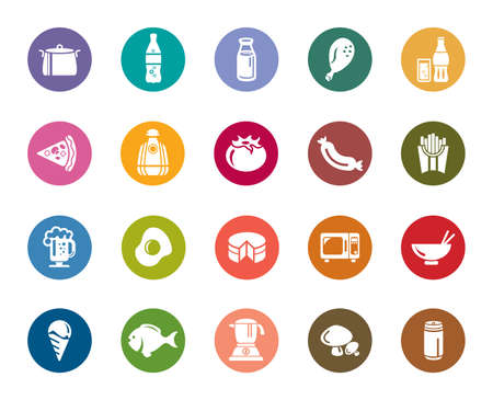 Food and Drinks Color Icons Vector