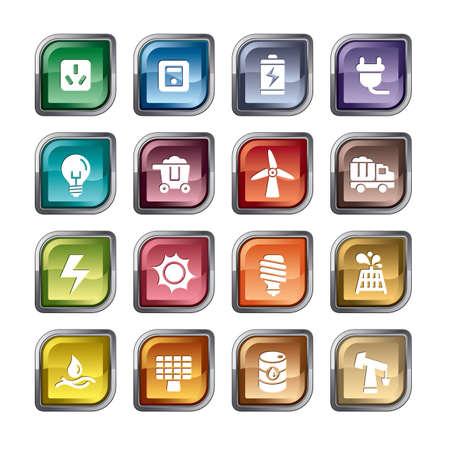 Biomass: Energy Icons Illustration
