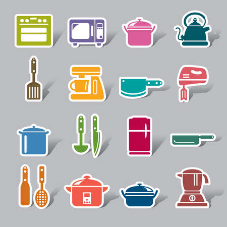 kitchen device: Kitchen Utensils and Appliances Color Icon Label Illustration