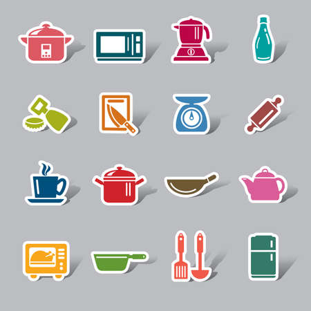 slotted: Kitchen Utensils and Appliances Color Icon Label Illustration