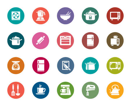 Kitchen Utensils Color Icons Vector