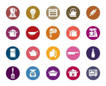 houseware: Kitchen Utensils Color Icons Illustration