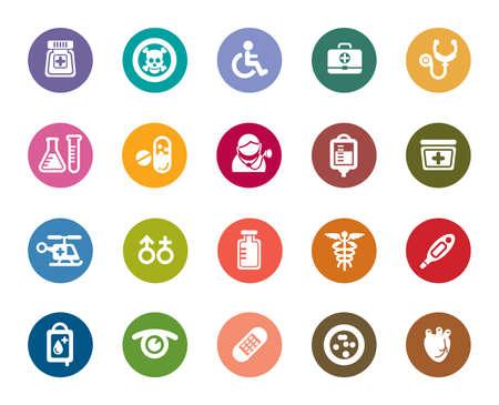 hazardous materials: Medical Color Icons Illustration