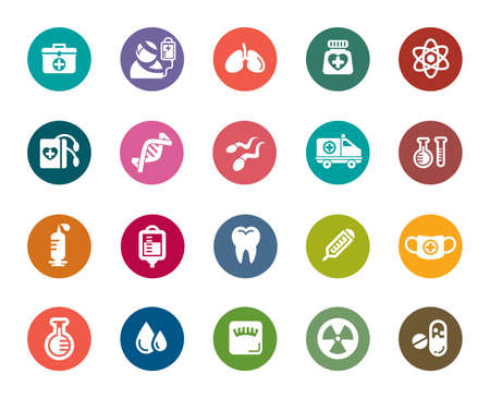 patients: Medical Color Icons Illustration
