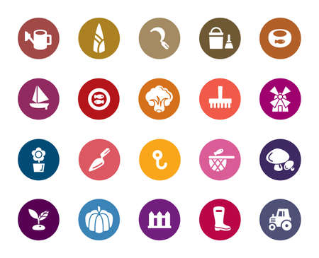 Agriculture and Fisheries Color Icons Vector