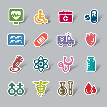 Medical Color Icon Label Vector