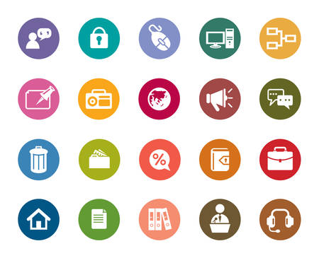 Business and Communication Color Icons Vector