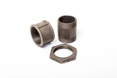 compound: pipe, nut and compound on white background