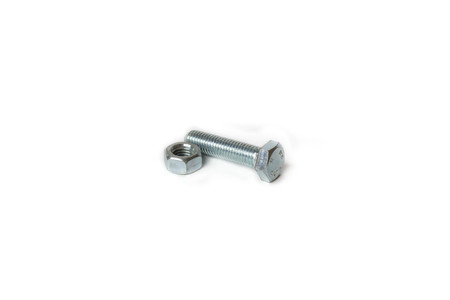 Female and bolt screw on white background