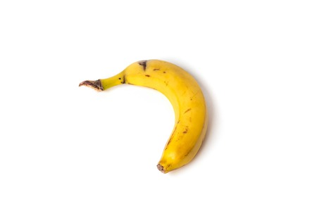 Beautiful, ripe, yellow banana on white background