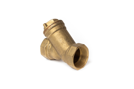 Brass water filter on a white background Stok Fotoğraf