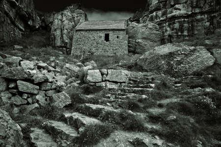 pembrokeshire: St Govans Chapel near Bosherston on the Pembrokeshire Coast.