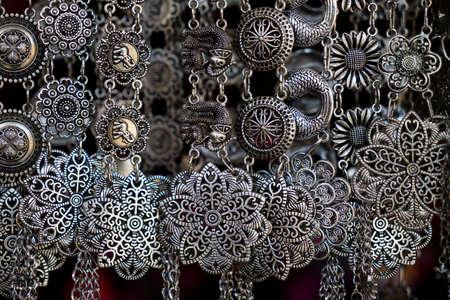 silver jewelry: closeup shiny glamour silver jewelry