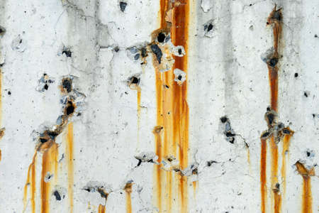 Drip of rust, Old concrete wall with traces of rust streaks