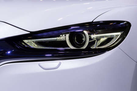 stylish modern car headlight close up