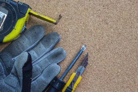 construction house: tool renovation on cork board
