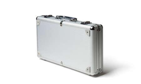 Gray metallic suitcase isolated on white Stockfoto - 105713433