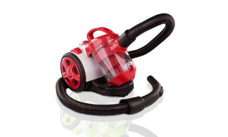 Red vacuum cleaner isolated on white Stok Fotoğraf