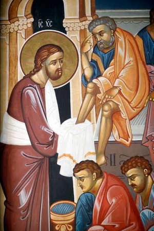 Sts. Cyril and Methodius orthodox church. Wall painting. Christ Washing the Disciples Feet. Ljubljana. Slovenia.