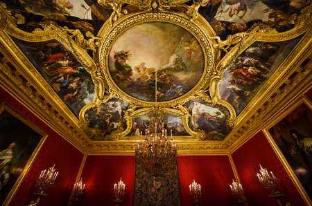 The Apollo Hall of Palace of Versailles, Paris, France Editorial