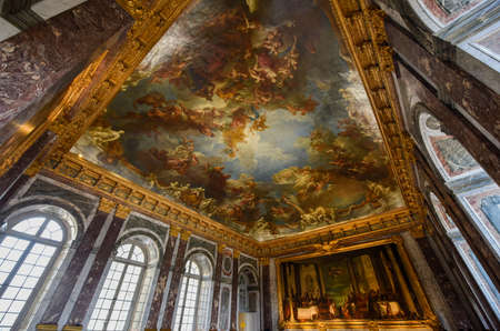 The mural of the Palace of Versailles sea GREE hall, Paris France