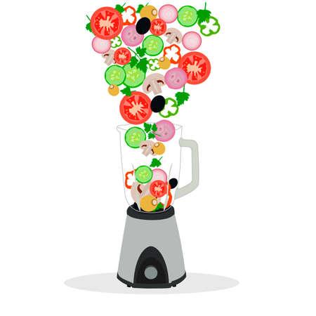 vegetables set food organic agriculture tomato cucumber mushroom Illustration