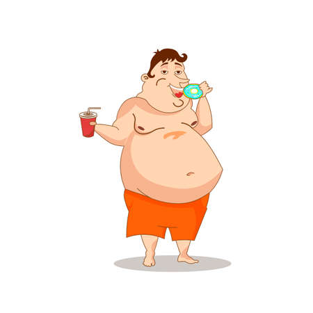 Fat man eating unhealthy food Ilustracja