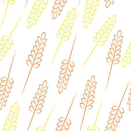 grain: Pattern wheat grain harvest ears bread autumn. Illustration