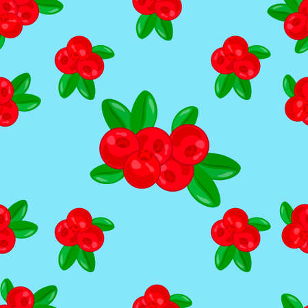 Lingonberry seamless pattern. Detailed hand drawn branches with berries