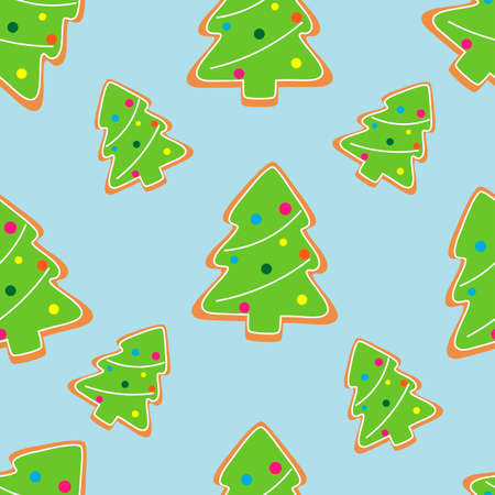 Gingerbread man decorated colored icing seamless pattern. Holiday cookies in Christmas tree shape.