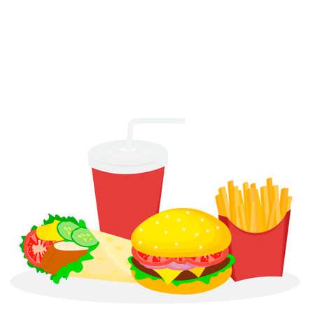 Panino di icone veloce di cibo. Archivio Fotografico - 89013150