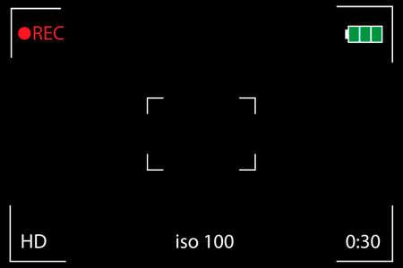 Digital video camera focusing screen. Black viewfinder camera recorduing. Vector illustration.