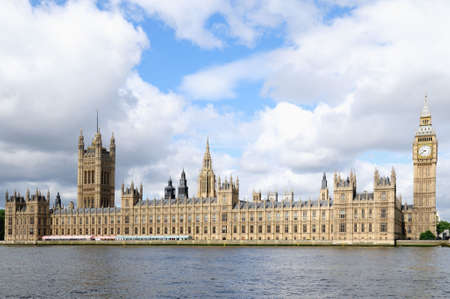 palace of westminster: The Houses of Parliament over the River Thames in morning light