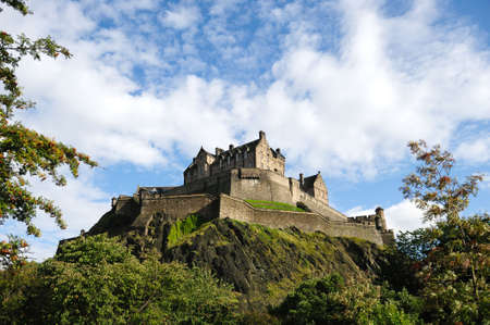 Edinburgh Castle, Scotland, UK, from the North West in the late afternoon after rain has cleared the air. Stock Photo