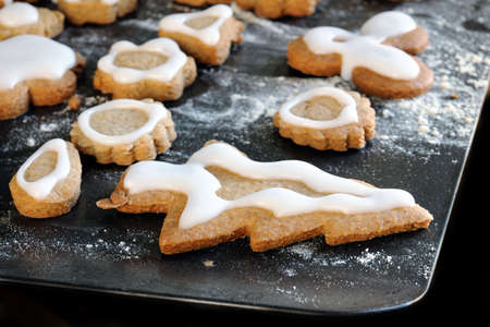 Homemade iced gingerbread biscuits / cookies on a baking sheet Stock Photo - 4287717